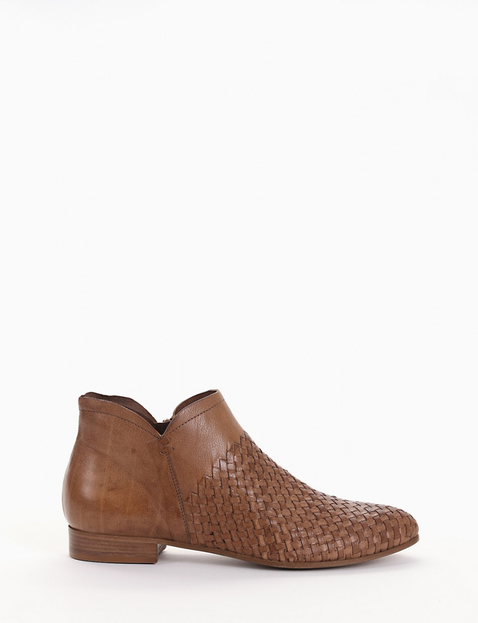 Low heel ankle boots heel 2 cm brown leather
