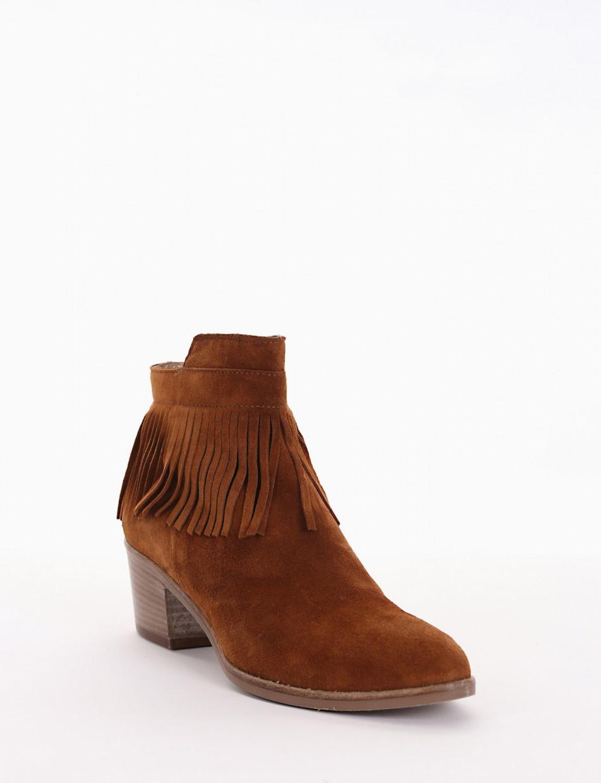 High heel ankle boots heel 5 cm brown chamois