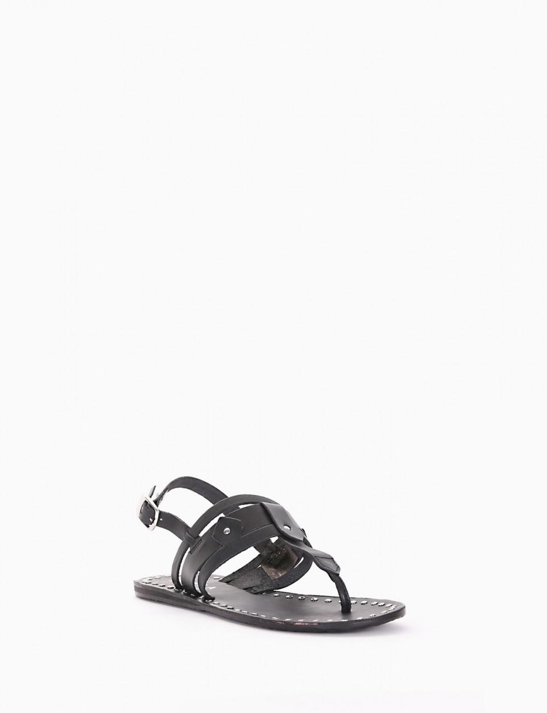 Flip flops black leather