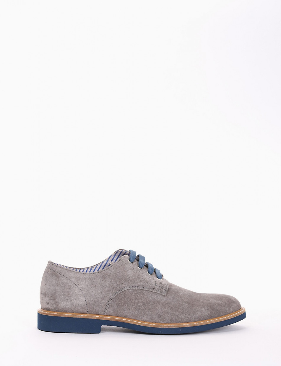 Lace-up shoes heel 2 cm grey chamois