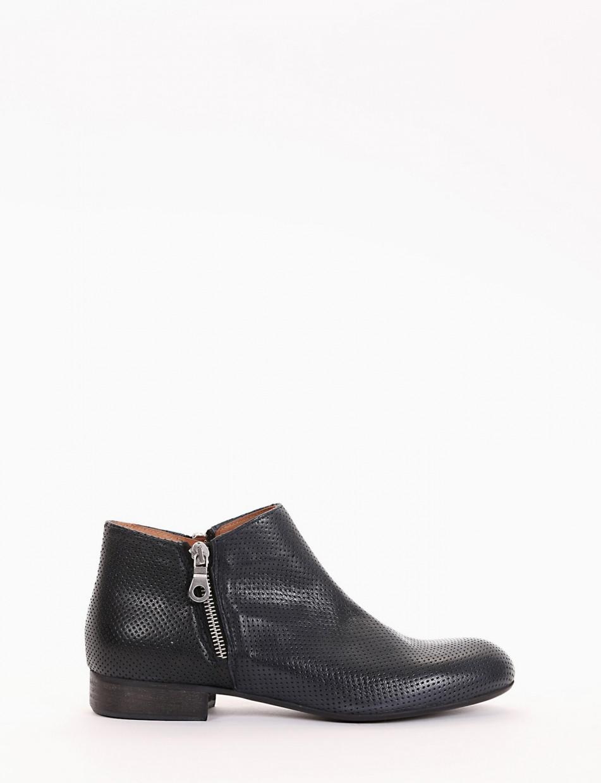 Low heel ankle boots heel 2 cm blu leather