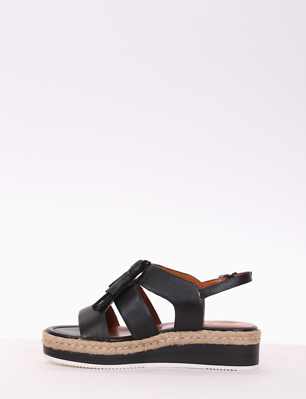 sandalo zeppa  5 cm nero