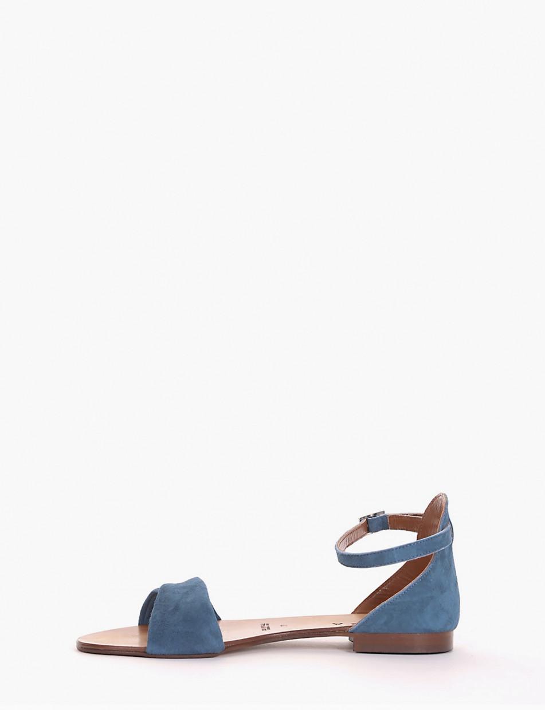 Low heel sandals heel 1 cm blu chamois