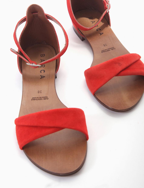 sandalo tacco 1 cm rosso