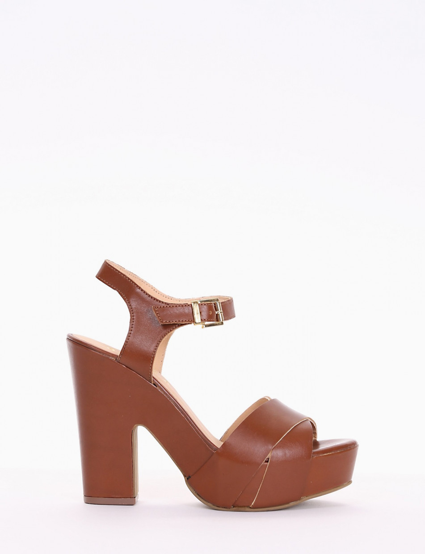 sandalo tacco 12 cm cuoio