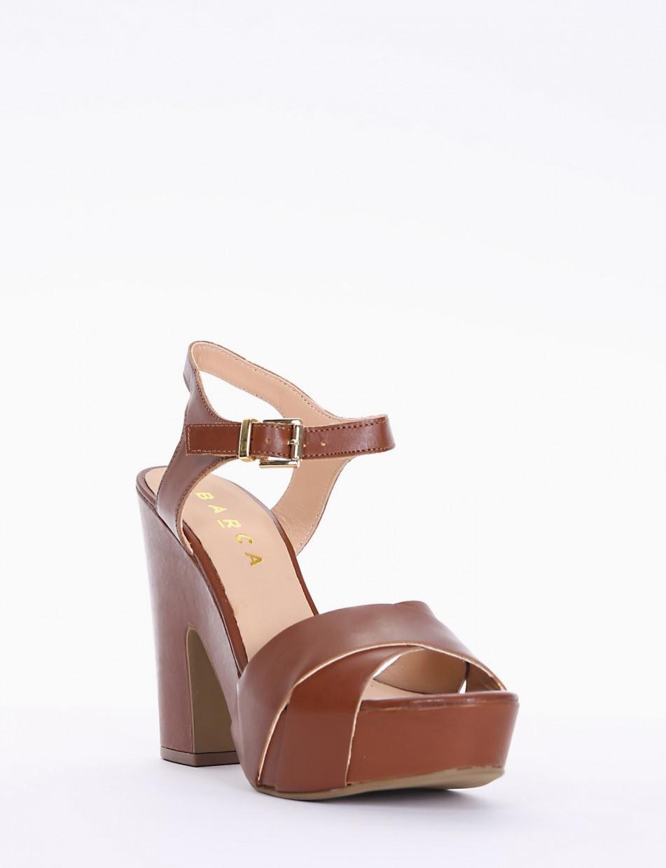 High heel sandals heel 12 cm brown leather