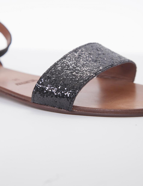 Low heel sandals heel 1 cm black chamois