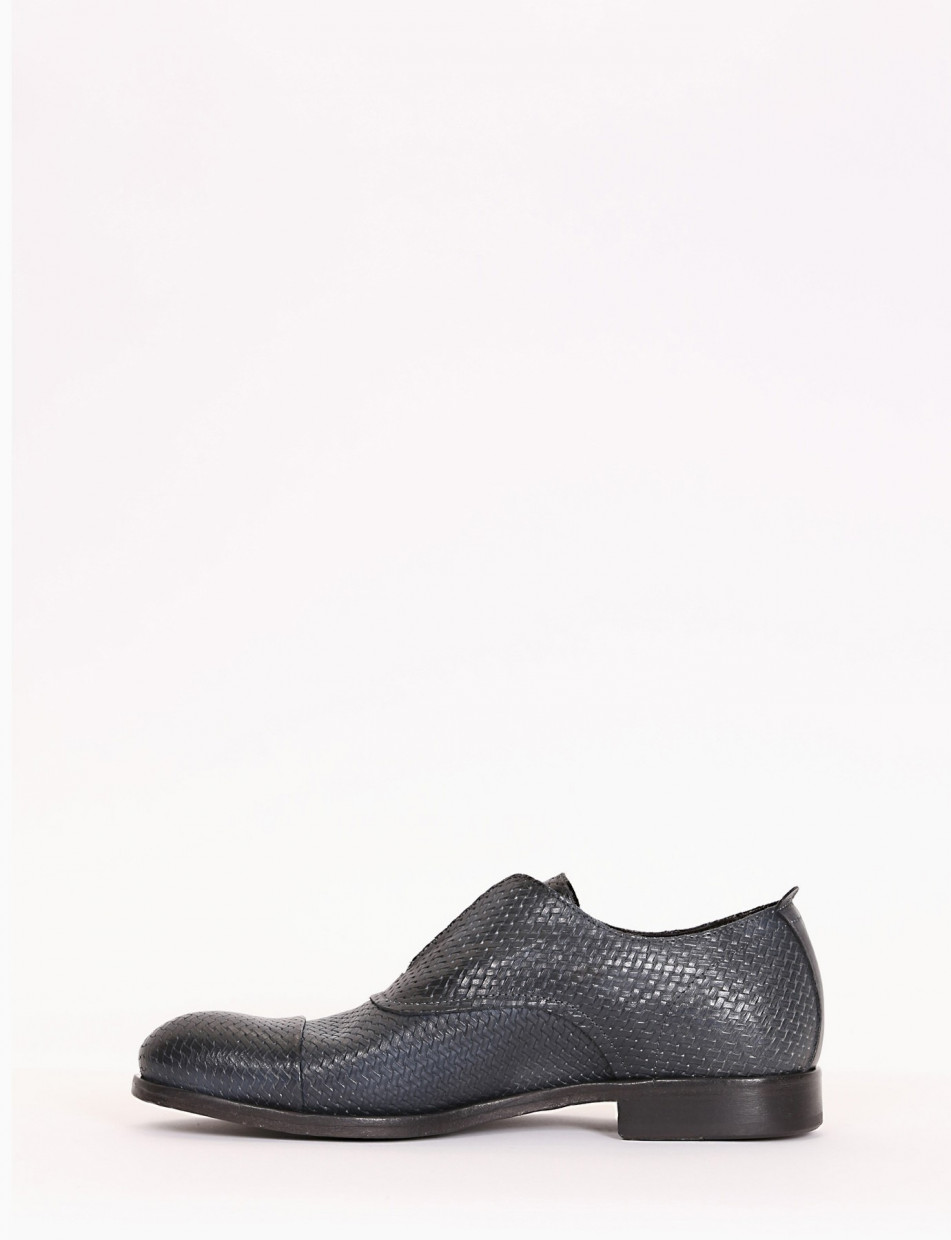 Lace-up shoes heel 1cm blu leather