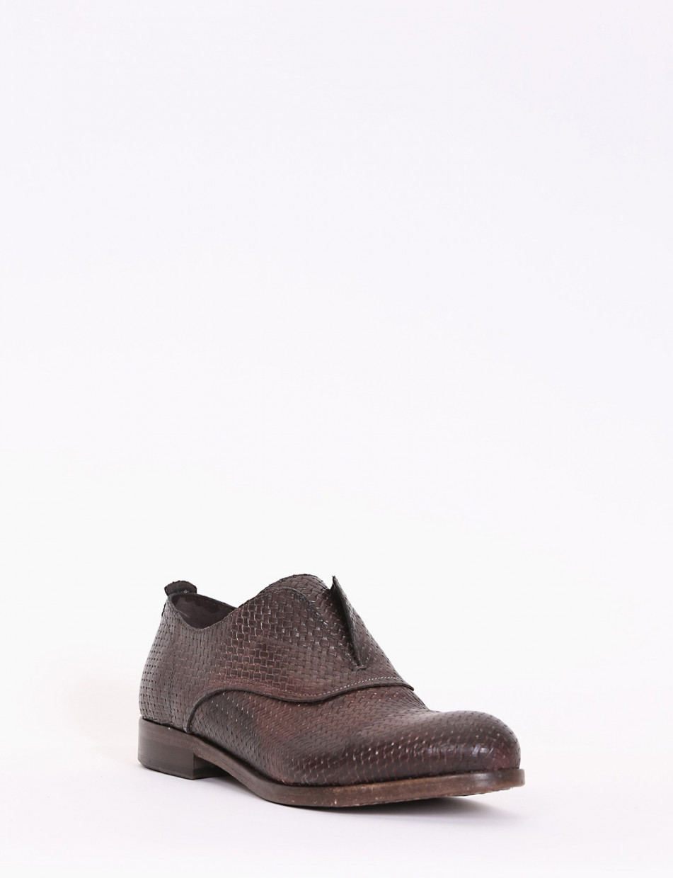 Lace-up shoes heel 1cm dark brown leather