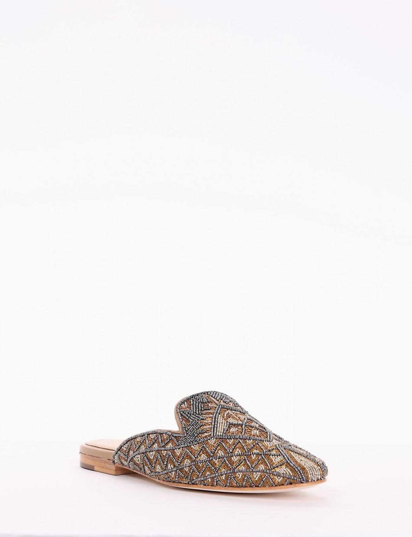 Sabot heel 1 cm bronze leather