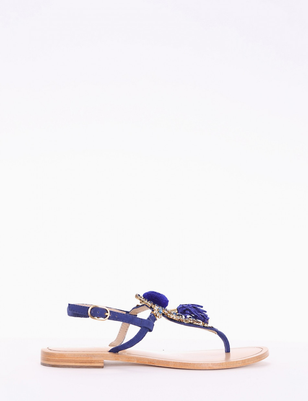 Flip flops heel 1 cm blu leather