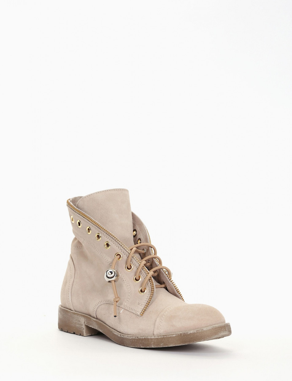 Combat boots heel 2 cm beige chamois