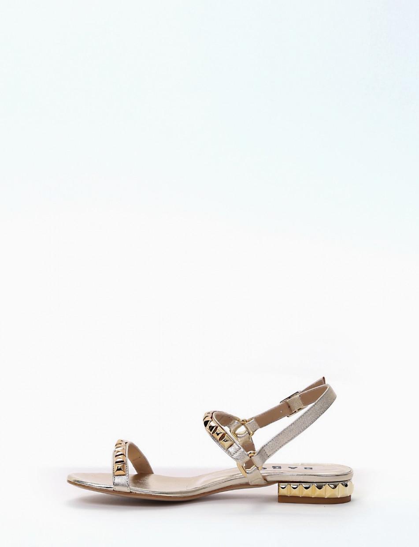 Low heel sandals heel 1 cm gold laminated
