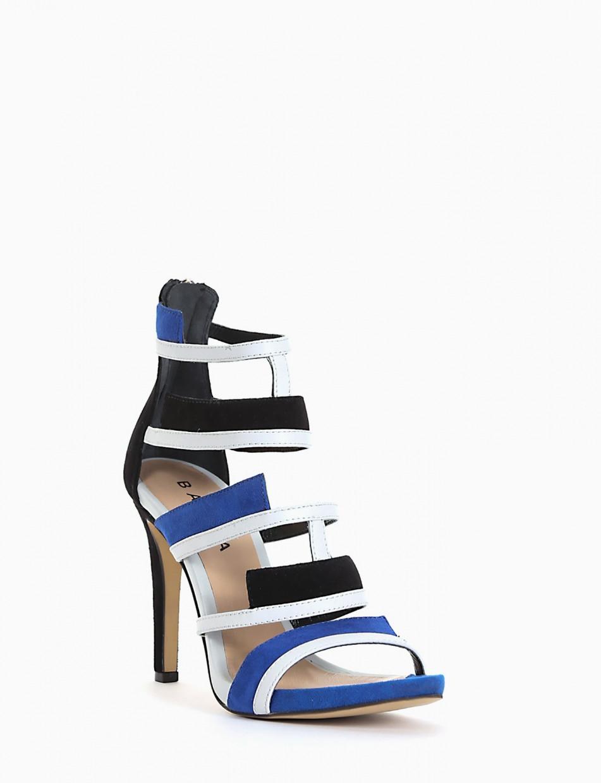 High heel sandals heel 10 cm blu chamois