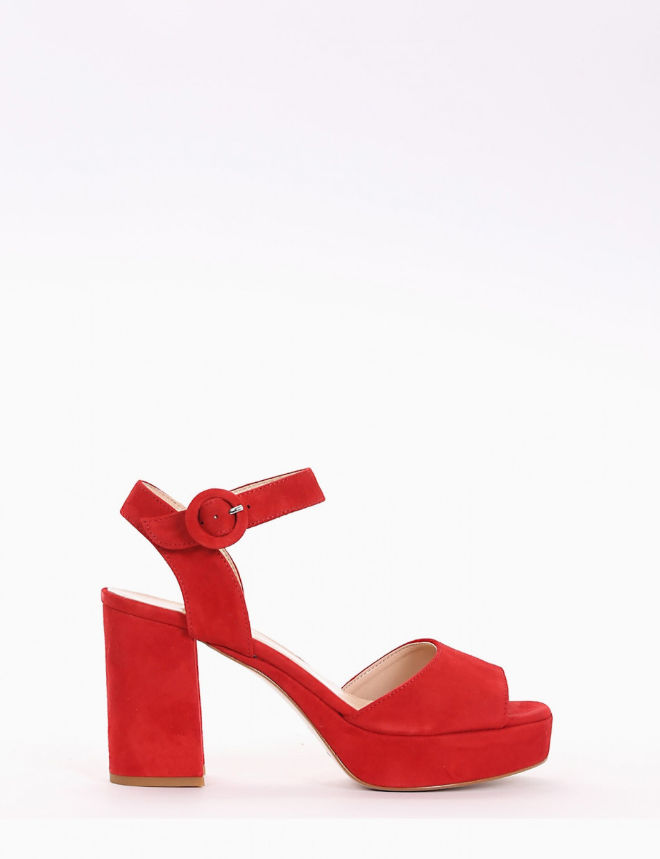 sandalo tacco 8 cm rosso
