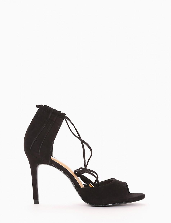 High heel sandals heel 9 cm black chamois