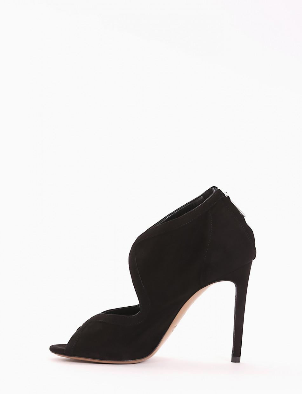 High heel sandals heel 10 cm black chamois