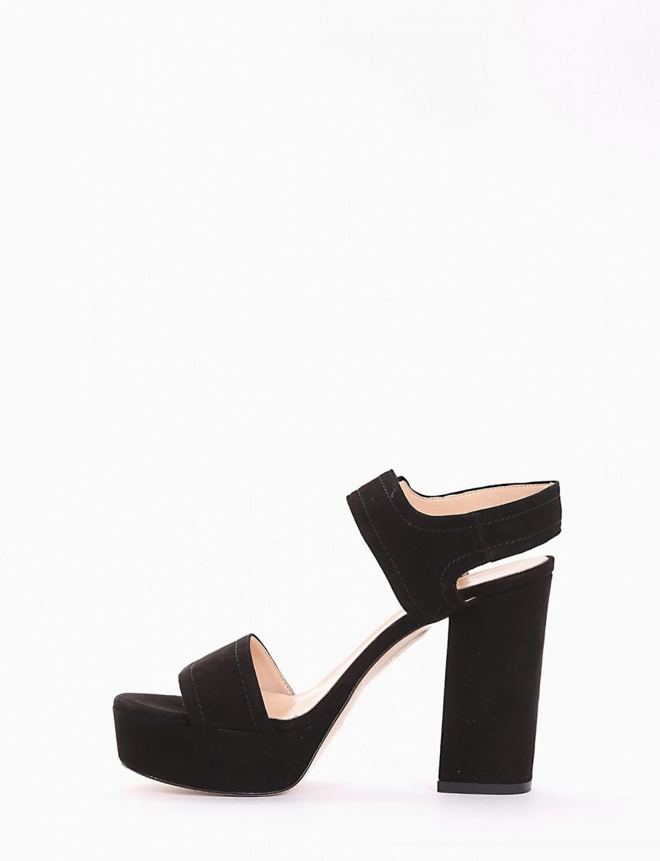High heel sandals heel 11 cm black chamois