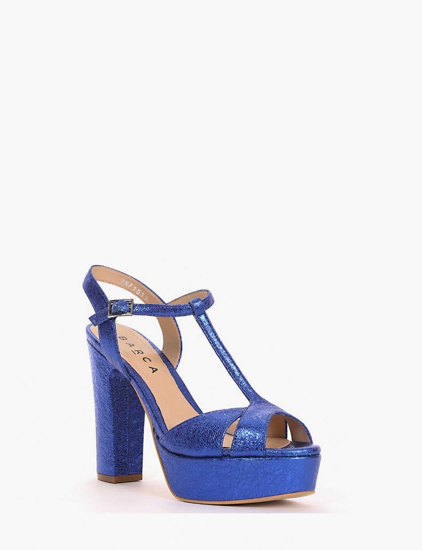 High heel sandals heel 12 cm bluette laminated