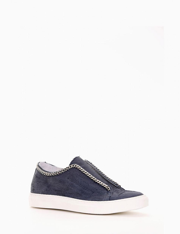 Sneakers heel 0 cm blu leather
