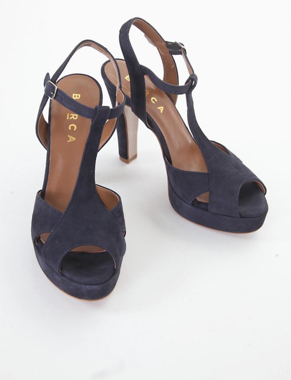 High heel sandals heel 11 cm blu chamois