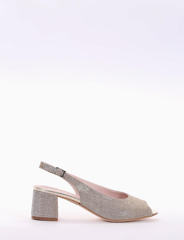 High heel sandals heel 5 cm beige glitter