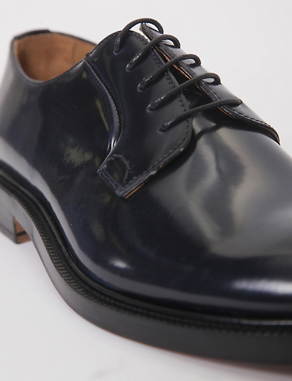 Lace-up shoes heel 2cm blu leather