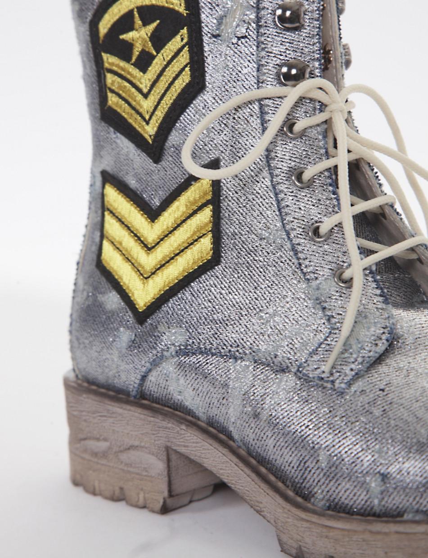 Combat boots heel 3 cm jeans tissue