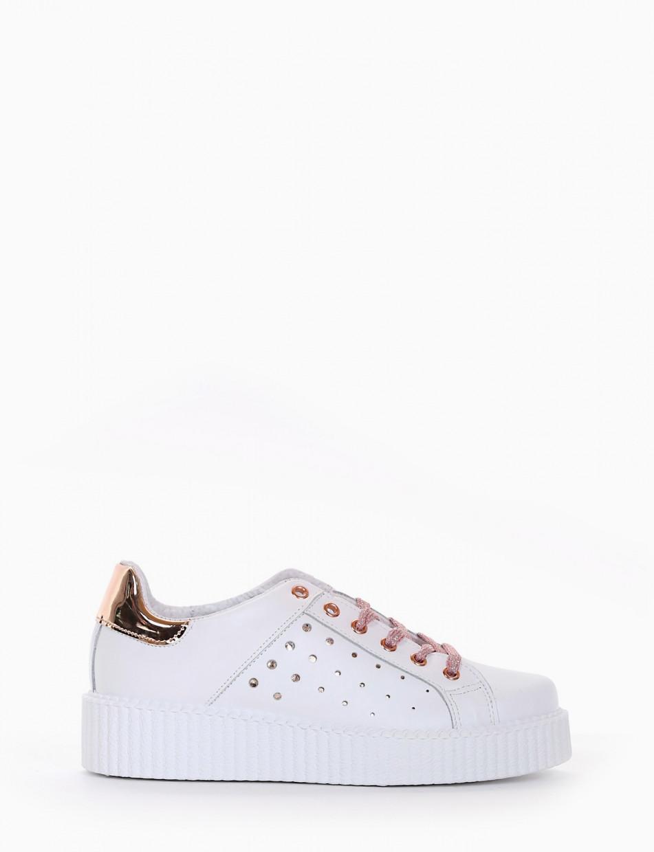 sneaker zeppa 3 cm bianco