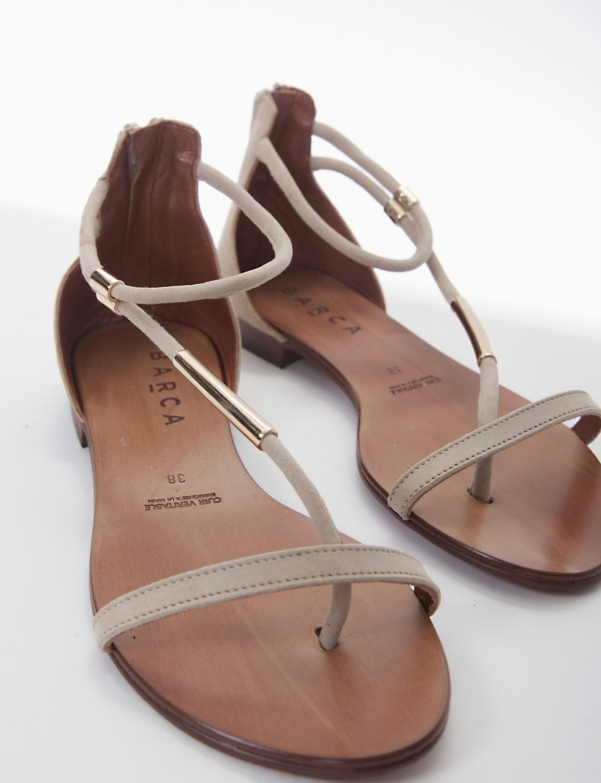 Flip flops heel 1 cm beige chamois