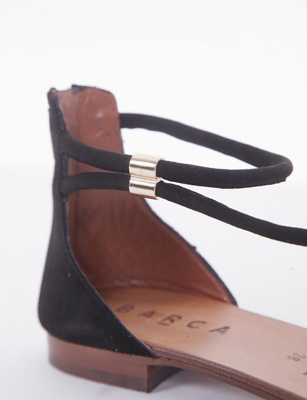 Flip flops heel 1 cm black chamois