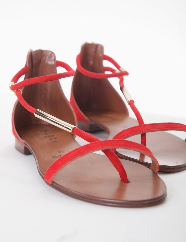 Flip flops heel 1 cm red chamois