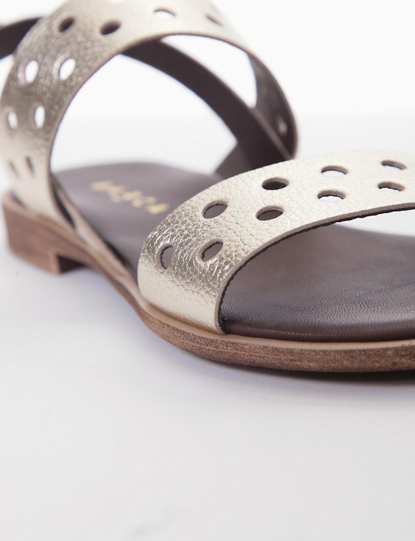 Low heel sandals heel 1 cm dark brown leather