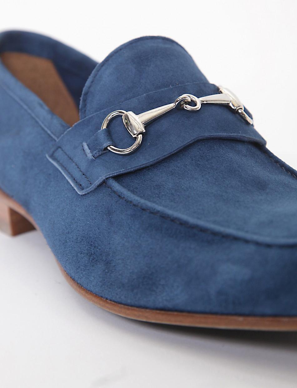 Loafers heel 2 cm blu chamois