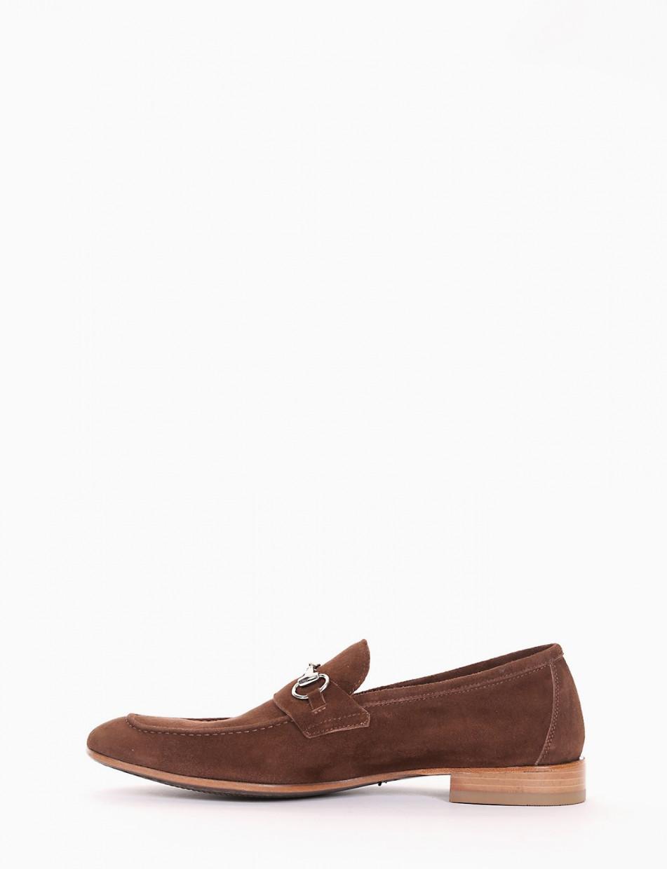 Loafers heel 2 cm brown chamois