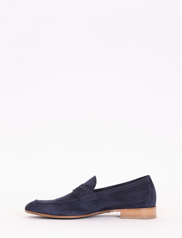 Loafers heel 2cm blu chamois