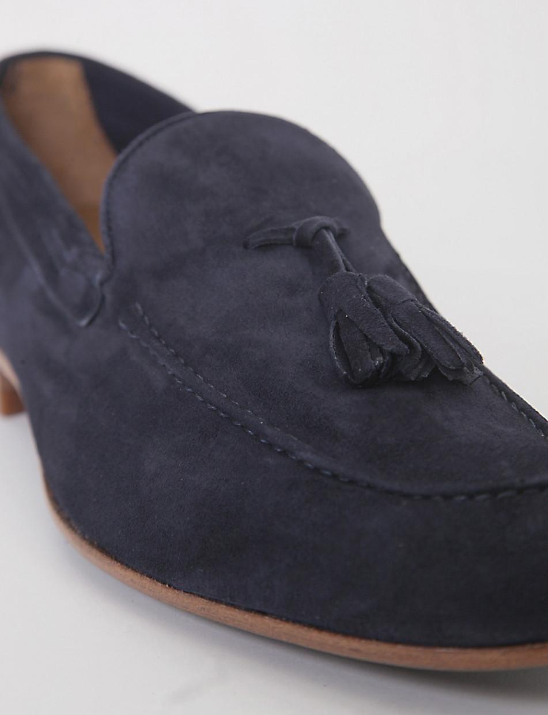 Mocassino tacco 2cm blu