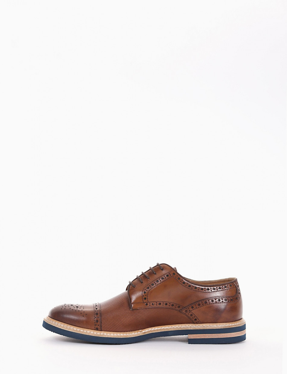 Lace-up shoes heel 1 cm brown leather