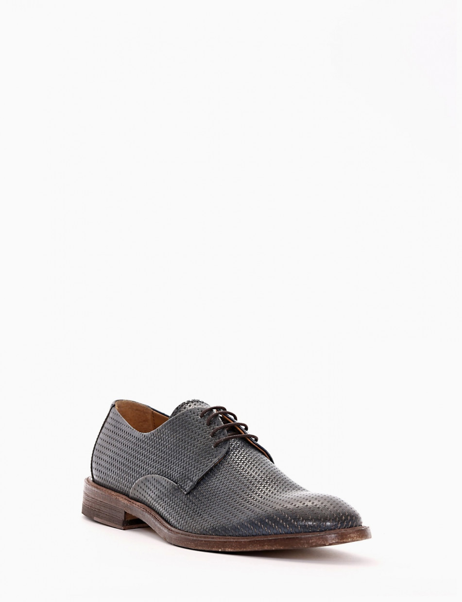 Lace-up shoes blu leather