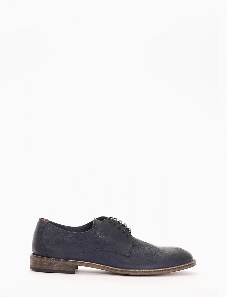 Lace-up shoes heel 1 cm blu leather