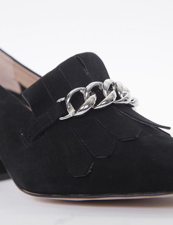 Loafers heel 5 cm black chamois