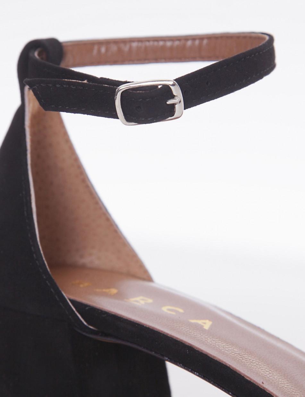 High heel sandals heel 5 cm black chamois