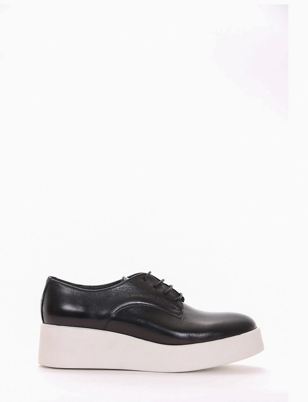 Lace-up shoes heel 4 cm black leather