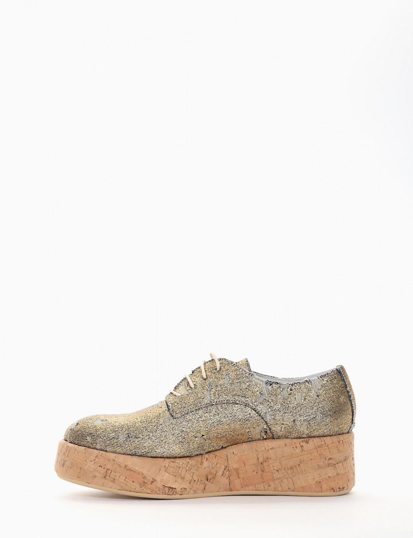 scarpa lacci zeppa 4 cm jeans