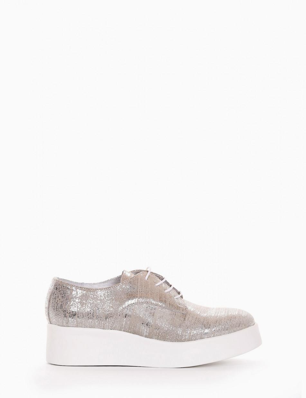 scarpa lacci zeppa 4 cm platino