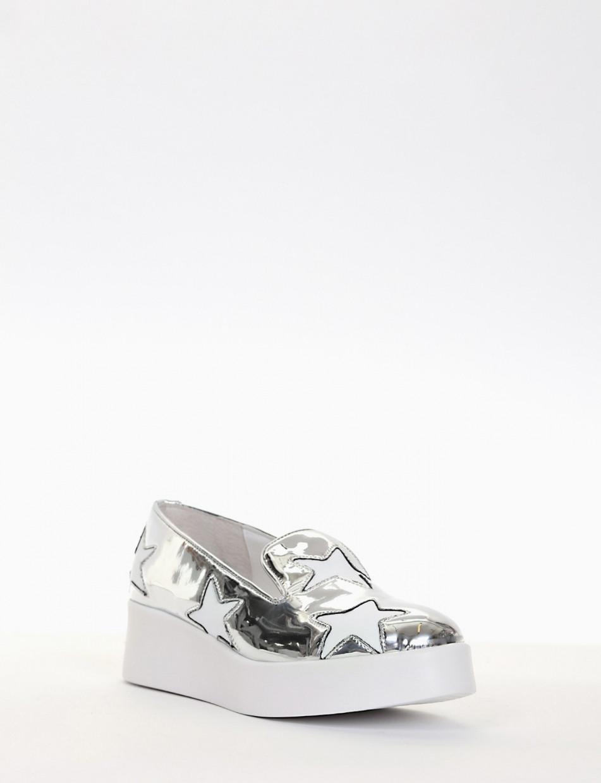 Sneakers heel 3cm silver laminated
