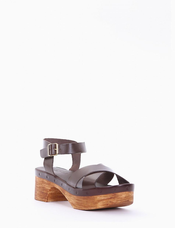 High heel sandals heel 5 cm dark brown leather