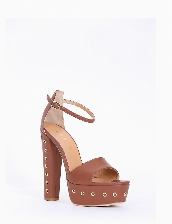High heel sandals heel 13 cm brown leather