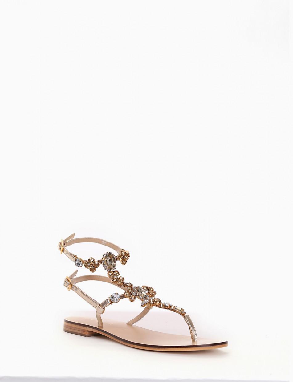 Flip flops heel 1 cm gold leather
