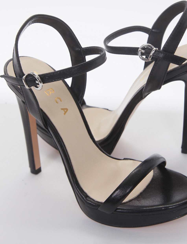 High heel sandals heel 11 cm black leather